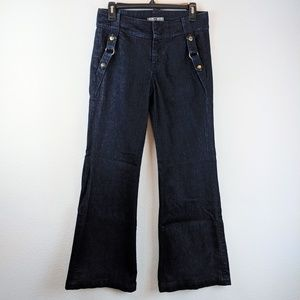 7 For All Mankind Wide Leg Belted Hip Dark Jeans
